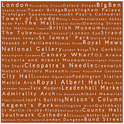 Abbey Road Prints - London in Words Toffee Print by Sabine Jacobs