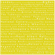 Abbey Road Prints - London in Words Yellow Print by Sabine Jacobs