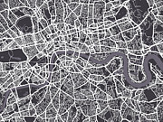 London City Map Framed Prints - London Map Art Framed Print by Michael Tompsett