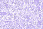 Great Britain Map Framed Prints - London Map Lilac Framed Print by Michael Tompsett