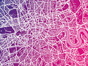 London Map Posters - London Map Red Poster by Michael Tompsett
