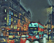 Old Town Digital Art Framed Prints - London night 1 Framed Print by Yury Malkov
