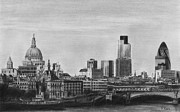 Skylines Drawings Posters - London Pencil Drawing Poster by David Rives