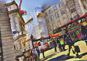 Old Town Digital Art Prints - London Rush Print by Yury Malkov