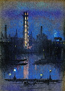 Carriages Posters - London Shot Tower Night Lights 1880 Poster by Padre Art