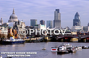 London Skyline Art - London skyline and Thames River by Hisham Ibrahim