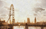 London Eye Prints - London skyline at dusk 01 Print by Pixel  Chimp