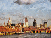 Oil Mixed Media Prints - London Skyline from the river  Print by Pixel Chimp