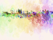 London Skyline Digital Art Prints - London skyline in watercolour background Print by Pablo Romero