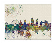 London Map Paintings - London skyline by WaterColorMaps Chris and Mary Ann