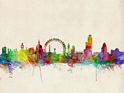 Skyline Print Digital Art Metal Prints - London Skyline Watercolour Metal Print by Michael Tompsett