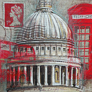 Dome Paintings - London St Pauls Dome by Leigh Banks