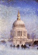 House Warming Framed Prints - London St Pauls fog 02 Framed Print by Pixel Chimp