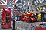 Double Decker Posters - London street creation Poster by Delphimages Photo Creations