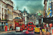 Old Town Digital Art Framed Prints - London streets 2 Framed Print by Yury Malkov