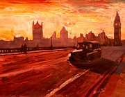 London Painting Originals - London Taxi Big Ben Sunset with Parliament by M Bleichner