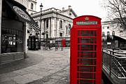 London Pyrography Prints - London Telephone Print by Adrian Pava