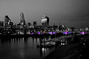 London Scenes Prints - London Thames Bridges BW Print by David French