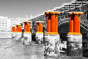 London Scenes Prints - London Thames Bridges Fractals Print by David French