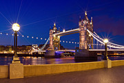 Walkway Digital Art Posters - LONDON - Tower Bridge by Night Poster by Melanie Viola