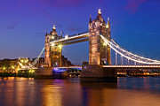 Historical Landmark Digital Art Metal Prints - London - Tower Bridge during Blue Hour Metal Print by Melanie Viola