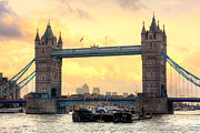 Barges Prints - London Tower Brigde Print by Semmick Photo