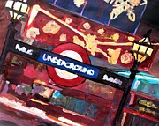 London Print Originals - London Underground Winter before Christmas by M Bleichner