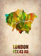 London City Map Framed Prints - London Watercolor Map 1 Framed Print by Irina  March
