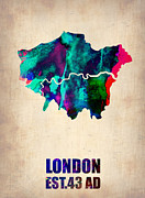 Uk Map Framed Prints - London Watercolor Map 2 Framed Print by Irina  March