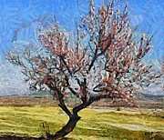 Rural Scenes Paintings - Lone Almond tree in Bloom by Dragica  Micki Fortuna