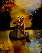 Canoe Digital Art - Lone American Warrior by Brad Robertson
