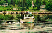 Maine Shore Prints - Lone Boat Print by Darren Fisher