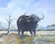 Cape Buffalo Paintings - Lone Bull by Anthony Mwangi