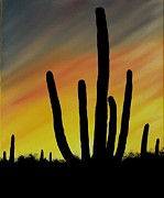 Aaron Thomas - Lone Cactus at Sunset