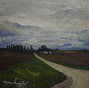 Gravel Road Paintings - Lone Country Road by Monica Veraguth