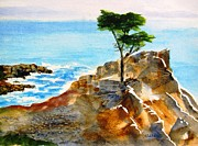 Scenic Drive Painting Framed Prints - Lone Cypress Framed Print by Carlin Blahnik