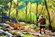 Hiker Paintings - Lone Hiker by Spencer Meagher