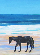 North Sea Paintings - Lone Horse in Surf by Anne Marie Brown