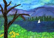 Fir Trees Tapestries - Textiles - Lone Lake with Boat by Jean Baardsen