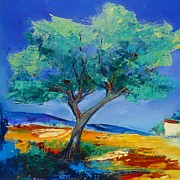 Lone Tree Painting Prints - Lone Olive Tree Print by Elise Palmigiani
