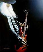 Rock And Roll Painting Posters - Lone Player Poster by Gary Kroman