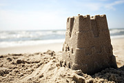 Beach Photograph Posters - Lone Sand Castle and the Ocean Poster by Colleen McWilliams