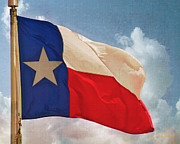 Cloudscape Digital Art - Lone Star Flag by Walter Herrit