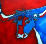 Flag Paintings - Lone Star Longhorn by Patti Schermerhorn