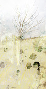 Pale Colors Prints - Lone Tree Abtract art Print by Ann Powell