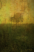 Cracks Digital Art Posters - Lone Tree in Meadow -Textured Poster by Dave Gordon