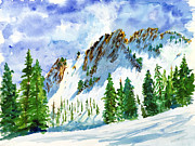 Ski Paintings - Lone Tree in the Afternoon by Walt Brodis