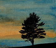 Gloaming Mixed Media Prints - Lone Tree Print by R Kyllo