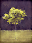 Seasonal Digital Art Metal Prints - Lone Tree Willamette Valley Oregon Metal Print by Carol Leigh