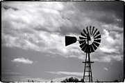 Farm Life Framed Prints Prints - Lone windmill on the prairie Print by John McArthur